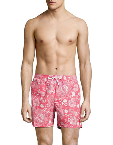 Black Brown 1826 Floral Chambray Swim Volley Shorts-RED-Large