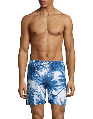 Black Brown 1826 Palm Tree-Print Swim Trunks-BLUE-X-Large