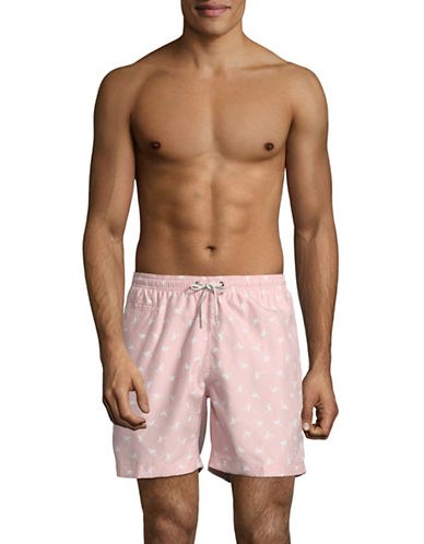 Black Brown 1826 Flamingo-Print Swim Shorts-PINK-Large