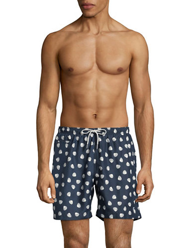 Black Brown 1826 Seashell-Print Swim Shorts-BLUE-Medium