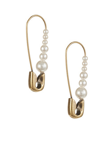 Marc Jacobs Faux Pearl Safety Pin Earrings-GOLD-One Size