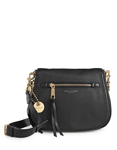 Marc Jacobs Recruit Leather Saddle Bag-BLACK-One Size