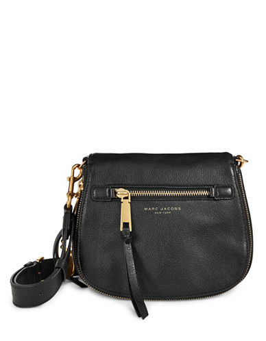 Marc Jacobs Recruit Leather Saddle Bag-BLACK-One Size