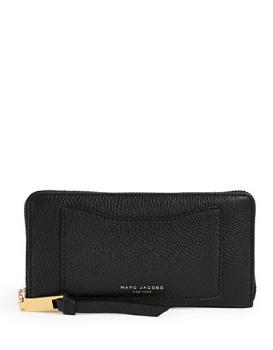 Marc Jacobs Leather Continental Wallet-BLACK-One Size
