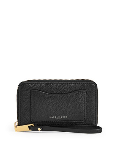 Marc Jacobs Recruit Leather Phone Wallet-BLACK-One Size