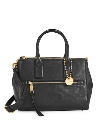 Marc Jacobs Recruit Pebbled Leather Satchel-BLACK-One Size