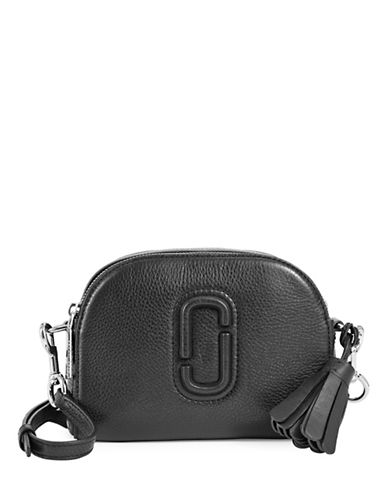 Marc Jacobs Leather Shutter Crossbody Bag-BLACK-One Size