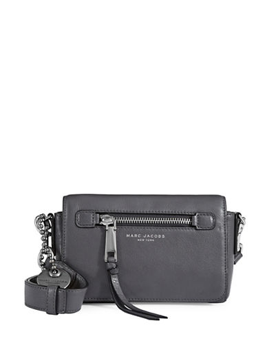 Marc Jacobs Recruit Leather Crossbody Bag-GREY-One Size