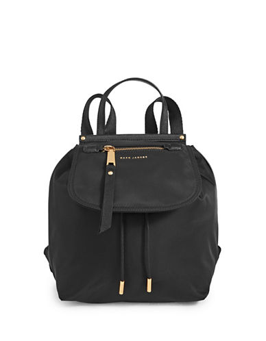 Marc Jacobs Flap-Top Hardware Nylon Backpack-BLACK-One Size