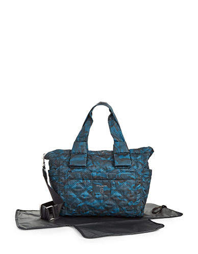 Marc Jacobs Camo Printed Quilt Baby Bag with Changing Mat-BLUE-One Size