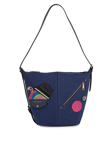Marc Jacobs Canvas Applique Sling Bag-BLUE-One Size