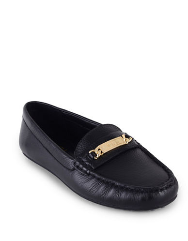 Lauren Ralph Lauren Berdine Leather Loafers-BLACK-9