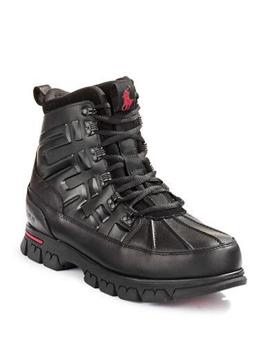 Polo Ralph Lauren Delton Leather-Blend Hiking Boots-BLACK-12D