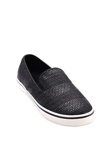 Lauren Ralph Lauren Janis Woven Slip-On Sneakers-BLACK-6.5