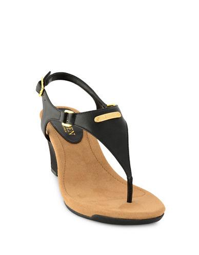 Lauren Ralph Lauren Nikki Wedge Sandals-BLACK-5.5