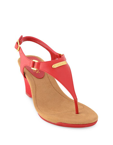 Lauren Ralph Lauren Nikki Wedge Sandals-RED-6.5