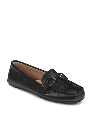 Lauren Ralph Lauren Womens Stirrup Trim Leather Loafers-BLACK-5.5