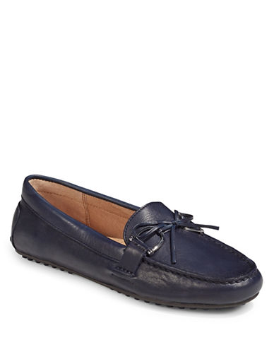 Lauren Ralph Lauren Womens Stirrup Trim Leather Loafers-BLUE-10
