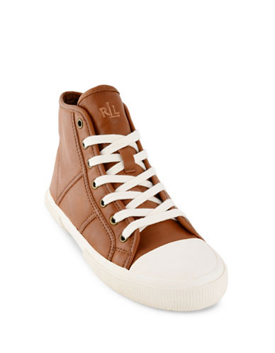 Lauren Ralph Lauren January Leather Hi-Top Sneakers-TAN-5