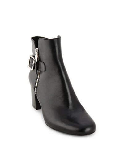 Lauren Ralph Lauren Leather Dress Ankle Boots-BLACK-8.5