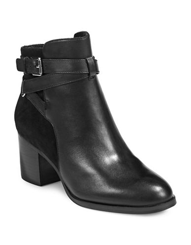 Lauren Ralph Lauren Strappy Heeled Leather Boots-BLACK-8