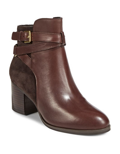 Lauren Ralph Lauren Strappy Heeled Leather Boots-BROWN-8.5