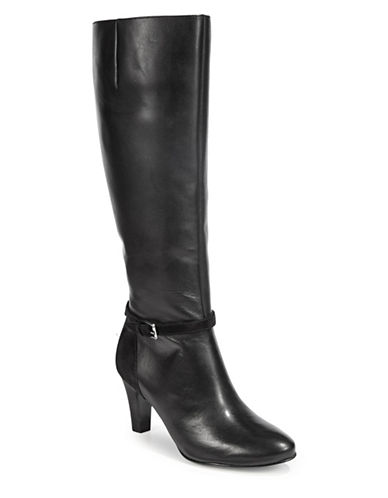 Lauren Ralph Lauren Leather Tall Dress Boots-BLACK-7.5