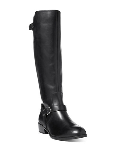 Lauren Ralph Lauren Margarite Leather Riding Boots-BLACK-5.5