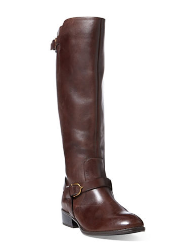 Lauren Ralph Lauren Margarite Leather Riding Boots-BROWN-10