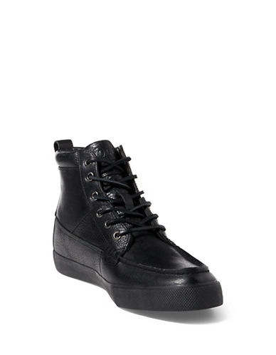 Polo Ralph Lauren Tavis Lace-Up High-Top Sneakers-BLACK-7.5