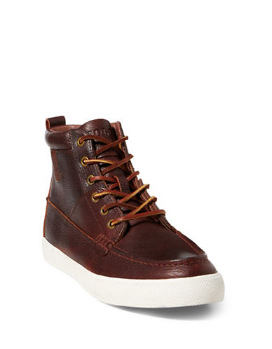 Polo Ralph Lauren Tavis Lace-Up High-Top Sneakers-TAN-7