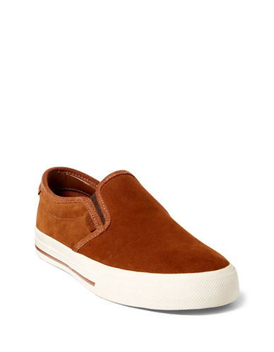 Polo Ralph Lauren Vaughn Suede Slip-On Sneakers-BROWN-9.5