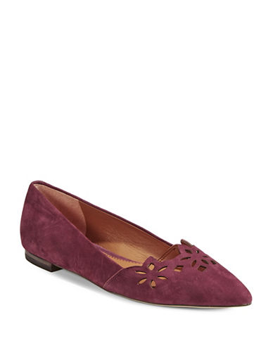 Lauren Ralph Lauren Allayana Perforated Leather Pointy Flats-PORT-5.5