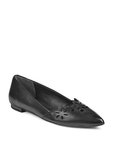 Lauren Ralph Lauren Allayana Perforated Leather Pointy Flats-BLACK-5.5