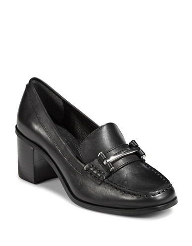 Lauren Ralph Lauren Leather Heeled Loafers-BLACK-9