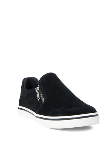 Lauren Ralph Lauren Womens Side Zip Slip-On Sneakers-BLACK-7