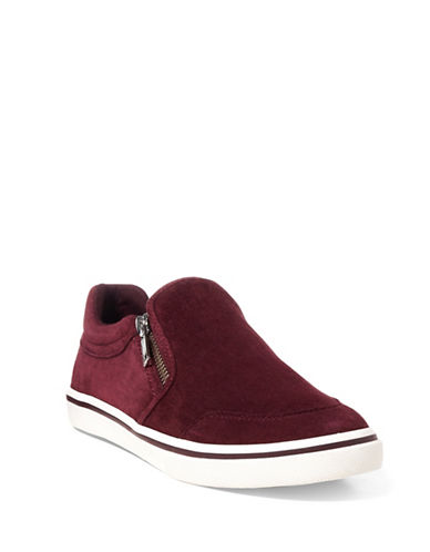 Lauren Ralph Lauren Womens Side Zip Slip-On Sneakers-WINE-6.5