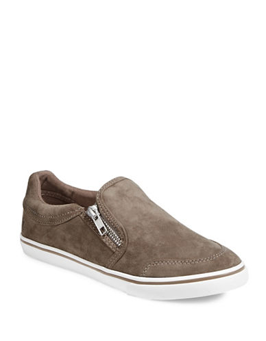 Lauren Ralph Lauren Womens Side Zip Slip-On Sneakers-TAUPE-7.5