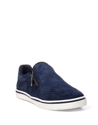 Lauren Ralph Lauren Womens Side Zip Slip-On Sneakers-NAVY-6.5