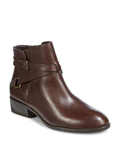 Lauren Ralph Lauren Mehira Leather Ankle Boots-BROWN-7