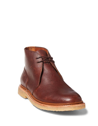 Polo Ralph Lauren Karlyle Leather Chukka Boots-BROWN-7.5