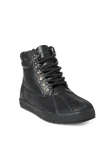 Polo Ralph Lauren Leather Sneaker Boots-BLACK-8.5