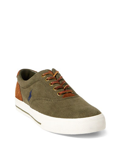 Polo Ralph Lauren Vaughn Cotton Corduroy Sneakers-GREEN-11.5