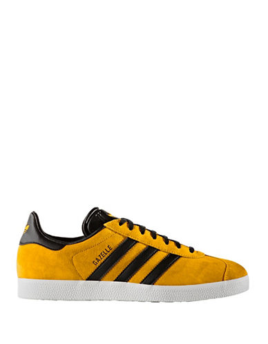 Adidas Originals Mens Gazelle Nubuck Leather Sneakers-GOLD-10