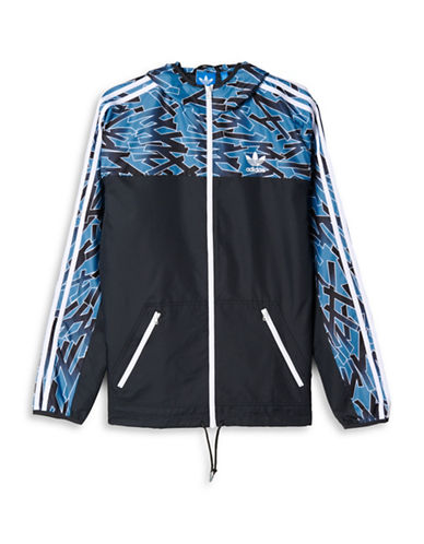 Adidas Shatter Striped Windbreaker-BLACK-Large 88286589_BLACK_Large