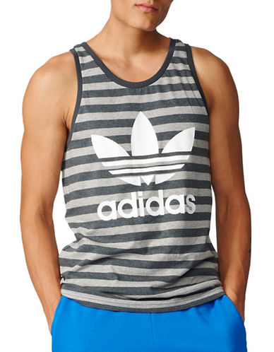 Adidas Logo Striped Tank Top-GREY-Small 89036211_GREY_Small