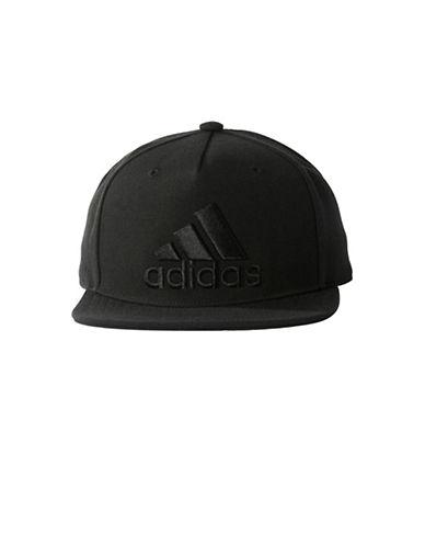 Adidas Logo Flat Brim Cap-BLACK-One Size