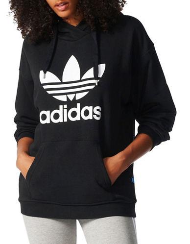 Adidas Long Sleeve Trefoil Hoodie-BLACK-Large 89080390_BLACK_Large
