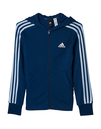 Adidas Essentials Full Zip Striped Hoodie-BLUE-Small 88982644_BLUE_Small