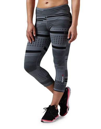 Reebok One Series Printed Nylux Capris-GREY-Medium 88702250_GREY_Medium